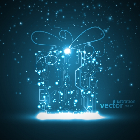 Circuit board background, technology illustration, christmas gift Vector