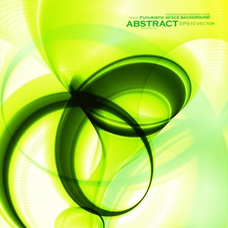 Abstract green, wave vector background, futuristic illustration  Illustration
