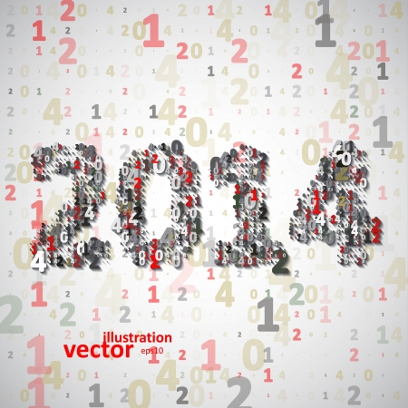 New Year celebration vector illustration, numbers colorful elements . Vector