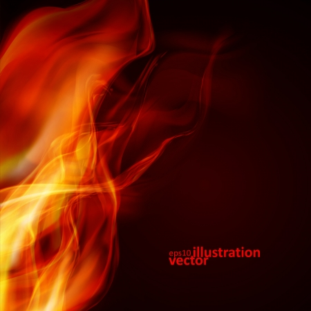 Abstract fire flames on a black background. Colorful vector illustration eps10