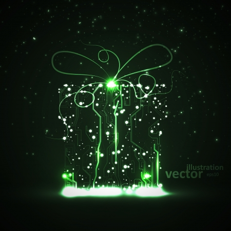 Circuit board vector , technology illustration, christmas gift Vector