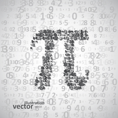 The mathematical constant Pi, many digits, illustration eps10 Vector