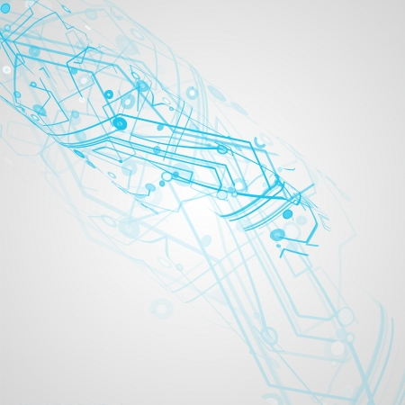 electronic circuit: Futuristic technology illustration, circuit board background Stock Photo