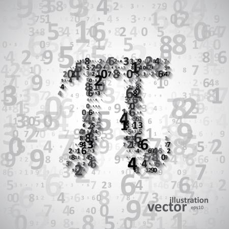 diameter: Il Pi costante matematica, molte cifre, illustrazione eps10 Vettoriali