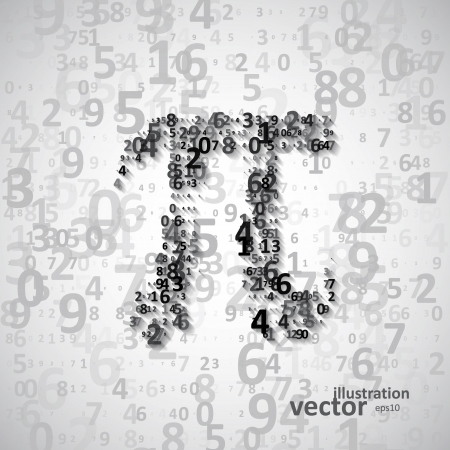 The mathematical constant Pi, many digits, illustration eps10