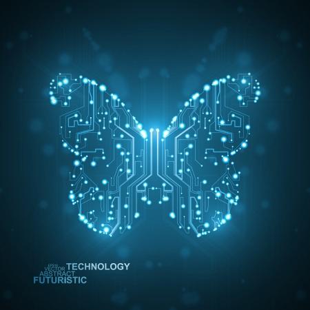 回路基板のベクトルの背景、技術の図は、蝶の図 eps10