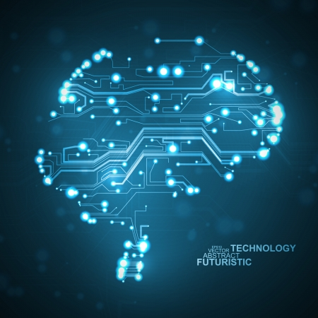 Circuit board vector background, technology illustration, form of brain eps10 Stok Fotoğraf - 25571654