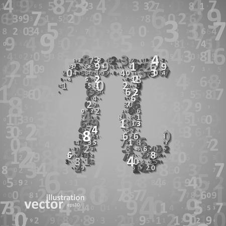 The mathematical constant Pi, many digits, illustration  Illustration