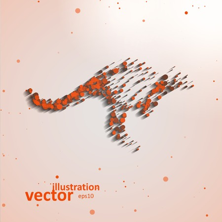 Abstract kangaroo, colorful composition elements Vector