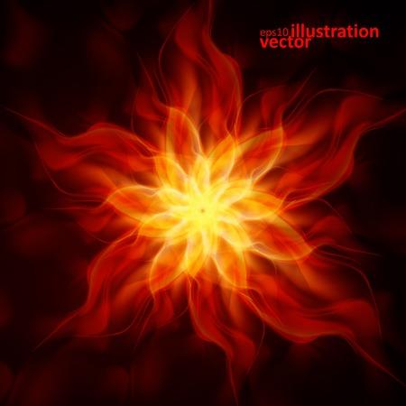 fuoco e fiamme: Fuoco fiamme astratte su sfondo nero. Illustrazione vettoriale colorato Vettoriali