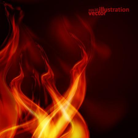 Fuoco fiamme astratte su sfondo nero. Archivio Fotografico - 26549247