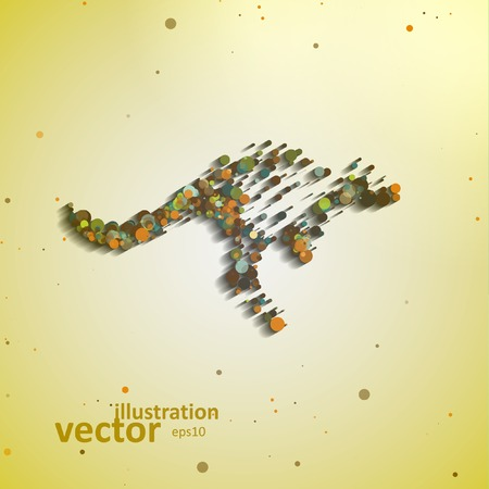 Abstract kangaroo, colorful composition elements, vector illustration eps10 Vector