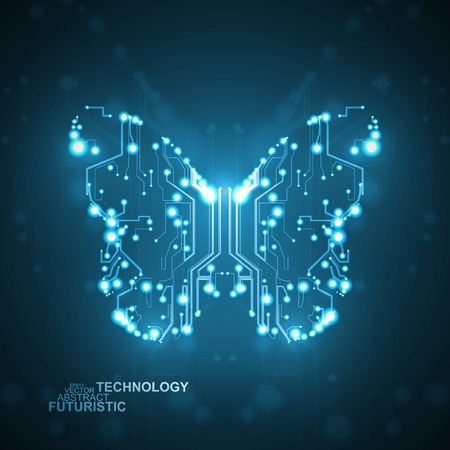 Circuit board background, technology butterfly illustration Vector