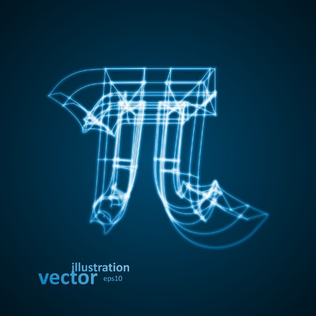 constant: The mathematical constant Pi, blue background, abstract vector illustration  Illustration