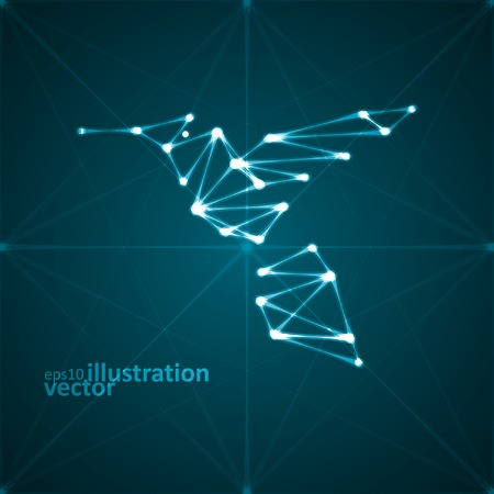 Abstract hummingbird illustration, stylish lights, futuristic vector eps10 Vector