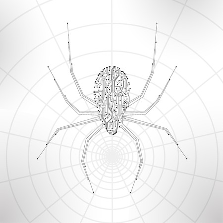 Circuit board background, technology illustration, spider illustration illustration