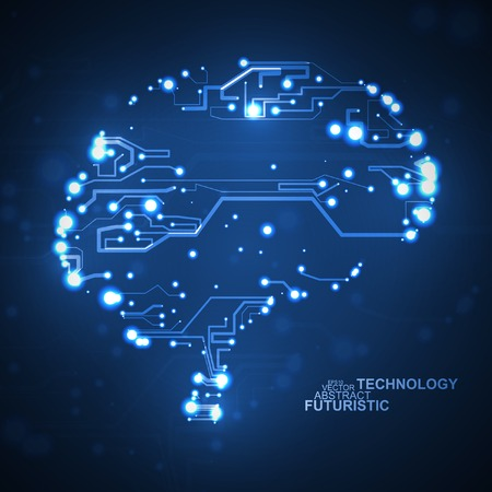 Circuit board vector background, technology illustration, form of brain