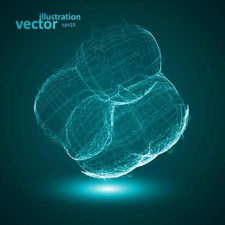 Futuristic illustration - conceptual virus, abstract shape Stock Vector - 27870116