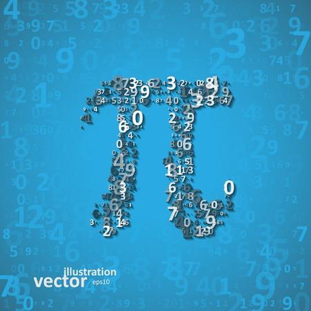 The mathematical constant Pi, many digits, illustration  Vectores
