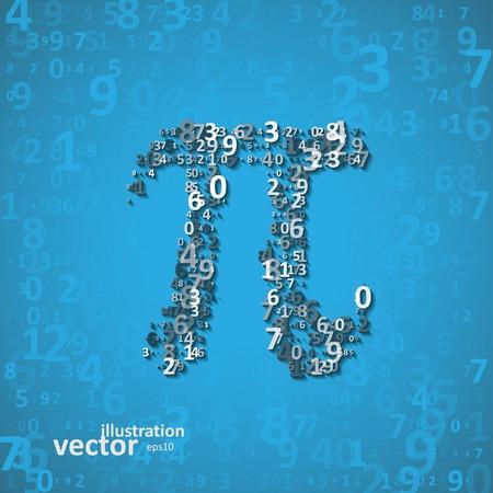 pi: The mathematical constant Pi, many digits, illustration  Illustration