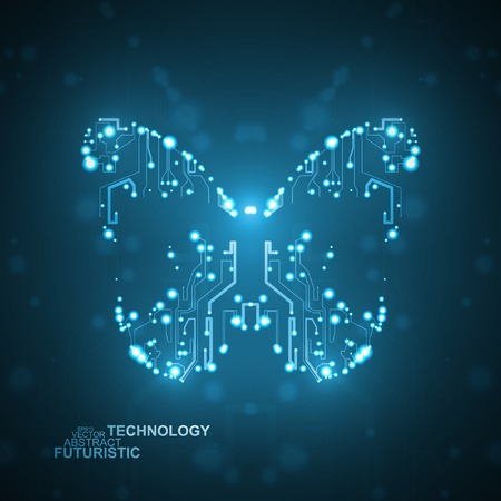 Circuit board vector background, technology illustration, butterfly illustration  Vector