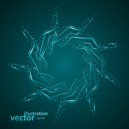 night: Circuit board vector background, abstract technology illustration