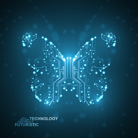 Circuit board vector background, technology  butterfly illustration