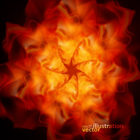 fantasy art: Abstract fire flames on a black background. Colorful vector illustration eps10