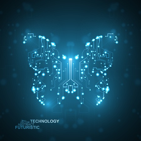 Circuit board background technology butterfly illustration Vector