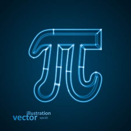 The mathematical constant Pi, blue background, abstract vector illustration  Vector