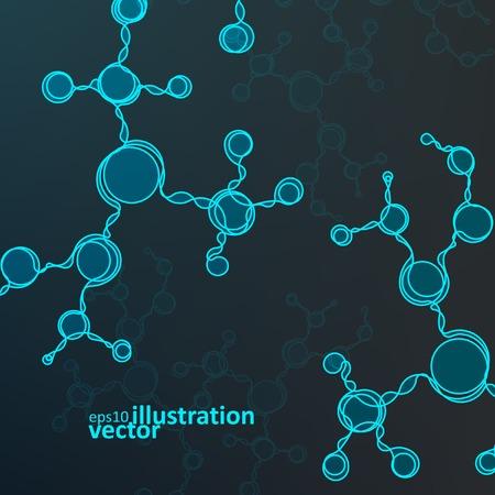 Futuristic dna, abstract molecule, cell vector illustration Stock Vector - 30141590