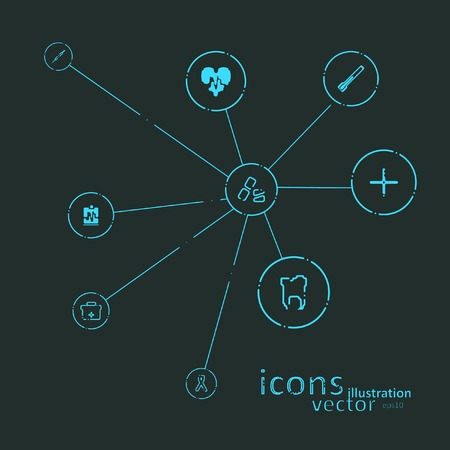 Medical icons set, creative style illustration, vector eps10 Vector