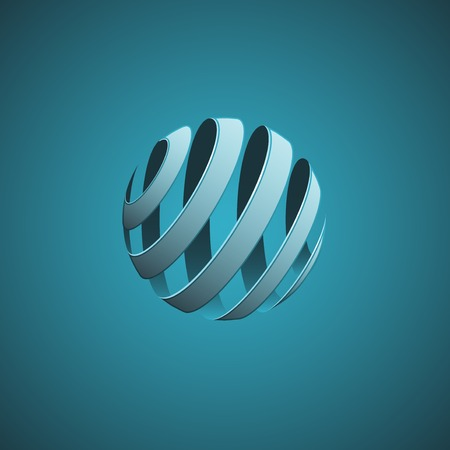 3d ball: Spiral Sphere Abstract Lines Stock Photo