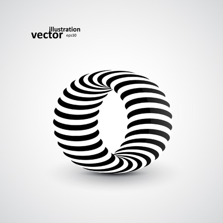 Abstract dynamic illustration, black and white 3d art eps10 Vector