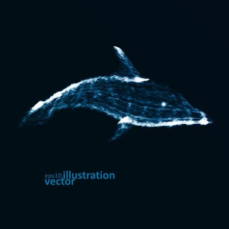 neon fish: Neon dolphin, abstract futuristic art, stylish illustration eps10