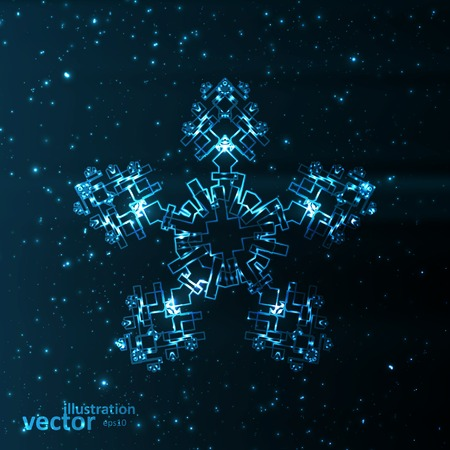 Abstract fantasy snowflake illustration, cool lights elements eps10.