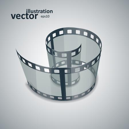 cinematograph: Espiral de la tira de pel�cula. Concepto gr�fico para su dise�o. eps10 ilustraci�n vectorial Vectores