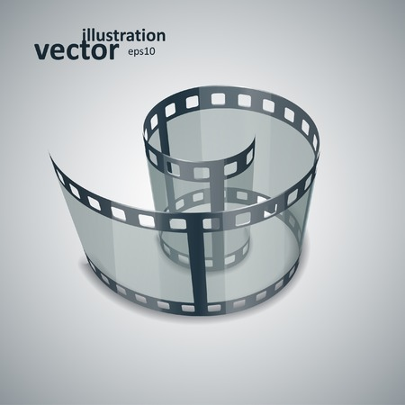 single coil: Spiral of film strip. Graphic concept for your design. vector illustration eps10