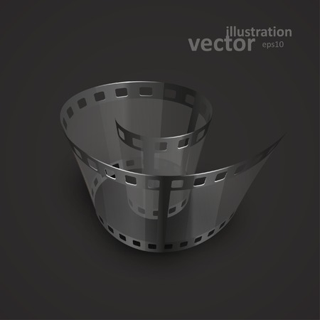 single coil: Spiral of film strip. Graphic concept for your design. vector illustration
