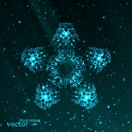 illustration and cool: Abstract fantasy snowflake illustration, cool lights elements  .