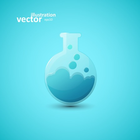 reagents: Chemical laboratory flask, vector graphic design, stylish concept eps10