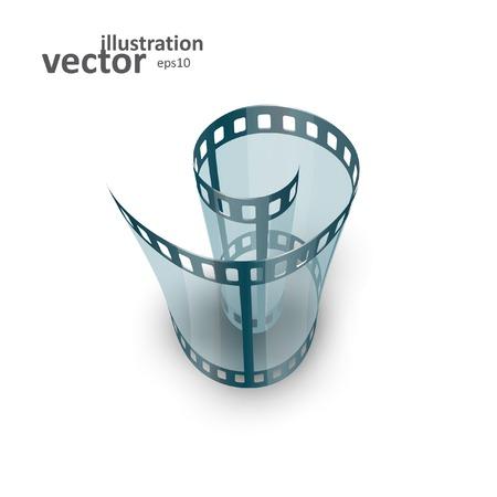 Spiral of film strip. Graphic concept for your design. vector illustration eps10
