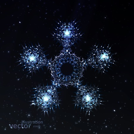 illustration cool: Abstract fantasy snowflake illustration, cool lights elements eps10.