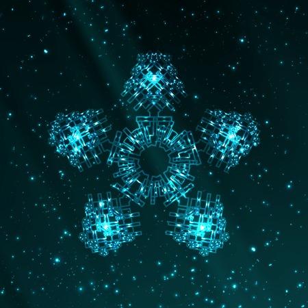 illustration cool: Abstract fantasy snowflake illustration, cool lights elements
