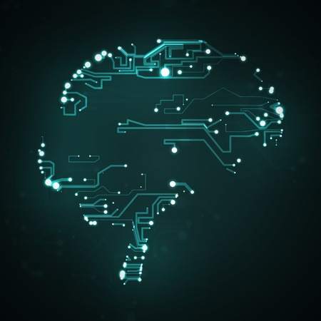 Circuit board background, technology illustration, form of brain Stock Photo