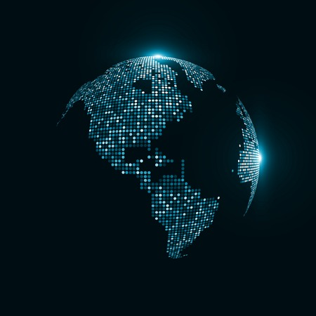 globo terraqueo: Imagen de la tecnología del mundo. El concepto de ilustración