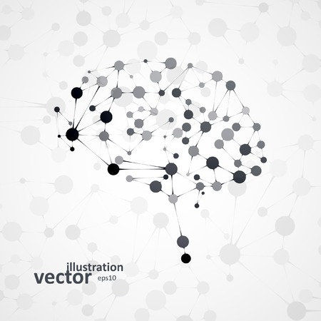 Molecular structure in the form of brain, futuristic vector illustration Stok Fotoğraf - 35610451