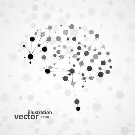 Molecular structure in the form of brain, futuristic vector illustration