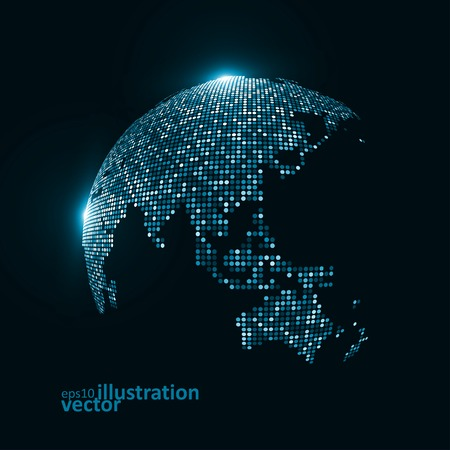 Technology image of globe. The concept vector illustration