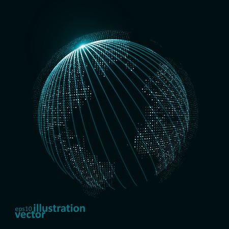 wereldbol: Afbeelding van de technologie van de wereld. Stock Illustratie